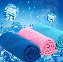 outdoor-schweißtuch Rabatt Farbe Magie kalten Handtuch Übung Fitness Sweat Sommer Eis Handtuch Outdoor Sports Eis kühlen Handtuch Hypothermie 90x35cm Kühlung Handtücher OOA1857
