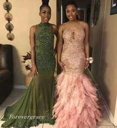 Wholesale long purple feather skirt - 2017 Stylish Africa Blush Appliqued Long Prom Dress New Arrival Illusion Neck Feather Skirts Party Gown Custom Made Plus Size