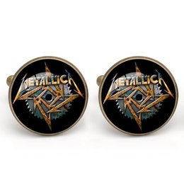 Wholesale Metallica Band - Metallica Band Cufflinks Men French Glass Cabochon Musical cuff link Copper material Men Charm Jewelry Gift Wholesale
