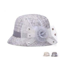 Wholesale yarn bowls - New arriva New spring and summer breathable shade hat ladies color linen bowl cap yarn flower diamond hat M011 with box
