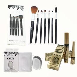 Wholesale Makeup Brushes Mascara - NEW makeup kit kylie jenner cosmetics 7 makeup brush + silicone puff + kylie 2 in 1 mascara eyeliner MOQ: 1 pc free shipping