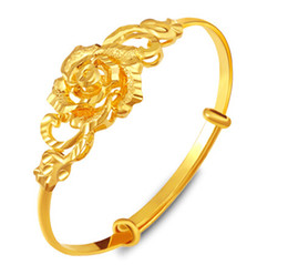 Wholesale Indian Wedding Flower Jewellery - 2017 Fashion Jewelry For Women African Bridal Jewellery Accessories Rose flower Bracelets & Bangles Gold Plated Bangle Party Gift