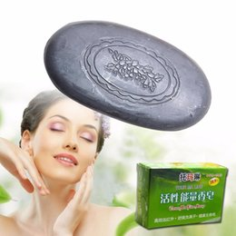 Wholesale Soap Tourmaline - Wholesale-Active Energy Black Bamboo Charcoal Soap Face & Body Clear Anti Bacterial Lighten Freckles Health Care Tourmaline Soap A2
