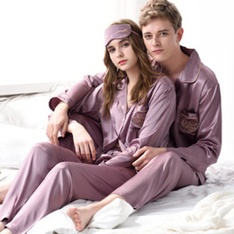 Wholesale Sexy Pyjamas For Women - XFN Brand Couple Pajamas Satin Silk Long-Sleeved Pajama Pants Sets For Men Women Fashion Trend Lovers Pyjama Lounge Set On Sale 1708-1709