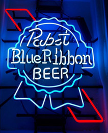 Wholesale Best Offers - Fashion New Handcraft Pabst Blue Ribbon Real Glass Tubes Beer Bar Display neon sign 19x15!!!Best Offer!