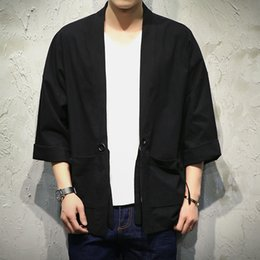 Wholesale men coat japan - Wholesale- Japan Style Kimono Jacket Men 100% Cotton&Linen Loose Mens Jackets Plus Size 3 4 Sleeve Open Stitch Casual Coat Male Windbreaker