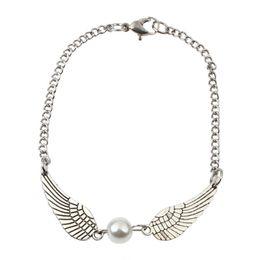Wholesale Peace Rings - Fashion Women Braclet Silver Pearl Angel Wings Jewely Dove Peace Bracelet Gift
