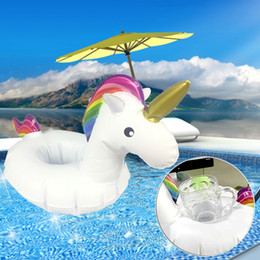 Wholesale Inflatable Mini Toys Wholesale - Original White Unicorn Inflatable Cup Holder Mini PVC Unicorn Inflatable Bottle Holder Perfect For Summer Pool Party Beach Cup Holder Toy