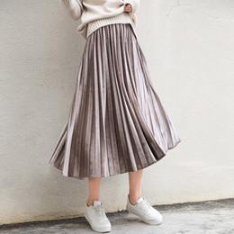 Wholesale Knee Skirt Denim Blue - (With lining) Korean velvet pure blue retro long pleated skirt pleated skirt