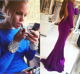 Wholesale Dark Blue Spandex Shirt - Purple Backless Mermaid Prom Dresses Bateau Neck Long Sleeves Crystal Beaded Spandex Royal Blue Evening Gowns Formal Dresses