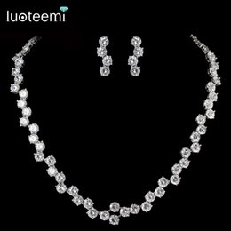 Wholesale Simple Wedding Necklace Earrings - LUOTEEMI Luxurious White Gold-Color Simple Design CZ Tiny Round Stone Chain Necklace Earrings Set Bridal Wedding Gift Party Jewelry