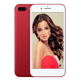 Wholesale Google Androids - ERQIYU Red goophone i7 i7 Plus smartphone android 6.0 shown 4G RAM 64G ROM MTK6592 octa core Unlocked 4G LTE Cell phones