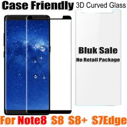 Wholesale Notes For Sale - bluk sale note8 note 8 S8 S7Edge S6Edge Case Friendly 3D curved Tempered Glass Screen Protector for samsung galaxy s8 s8plus s7 edge