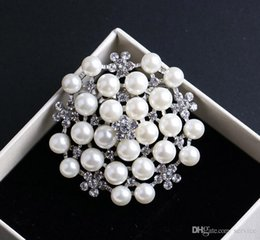 Wholesale Hair Clip Embellishments - 10Pcs Rhinestone Brooch Embellishment Crystal Pearl Silver Wedding Brooch Bouquet Cake Decoration Hair Comb Jewelry Clip 2017 Hot Style