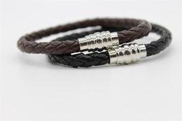 Wholesale Mens 925 Bracelets - Mens PU Leather Bracelet Fashion Stainless Steel Bracelets Chain Bangle Fit European 925 Sterling Charms Beads