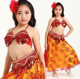 Wholesale Indian Dance Costumes For Kids - Children Belly dance costume clothes wear for kids dance child bellydance children gift indian dance 3pcs Bra&Belt&Skirt SF005