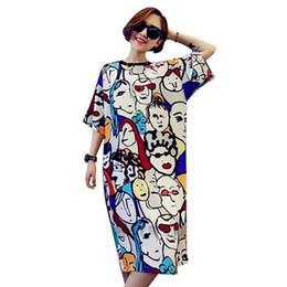 Vintage nachthemden online-Großhandels- plus Größen-Frauen Sleepwear arbeiten loses Nighties O-Ansatz Weinlese-abstrakten Kunstdruck beiläufiges Sommert-shirt Nachthemdkleid um