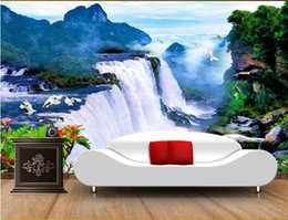 chinese scenery painting Coupons - 3d room wallpaer custom mural photo Great Falls Natural Scenery TV Background decoration painting 3d wall murals wallpaper for walls 3 d