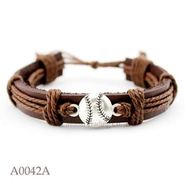 Wholesale Leather Friendship Bracelets For Women - ANTIQUE GOLD BRASS Baseball Adjustable Leather Friendship Cuff Bracelets for Men & Women Baseball Bangle Casual Wristband Jewelry