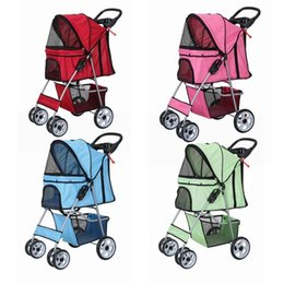 Wholesale Deluxe Toy - 4 Wheels Confidence Deluxe Folding Four Wheel Pet Cat Dog Stroller Travel Carrier 4 Color