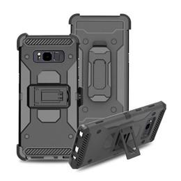 Hybrid-roboter combo telefon fall online-Hybrid Robot Combo Handyhülle für Samsung Galaxy Note8 S8 Plus / iPhone X 8 7 6 6S Plus Stoßfestes Cover mit Kickstand-Schwenkgurtclip