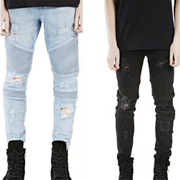 Wholesale Hip Hop Pants Clothes - Wholesale-New Mens Hip Hop Swag Biker Jeans True Ripped Destroyed Skinny Slim Fit Black Blue Fashion Style Clothing Free Shipping