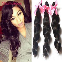 Wholesale Cheap Hair Products Free Shipping - Glamorous Hair Products 3 Bundles Cheap Human Hair Bundles Loose Wave Virgin Brazilian Malaysian Indian Peruvian Hair Weaves Free Shipping