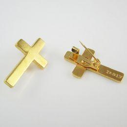 Wholesale Cross Pins - 100pcs of Gold Tone Religious Christian Booches Cross Lapel Pin