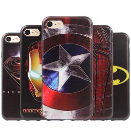 Wholesale Shell Lights - Luxury 3D Case for iPhone 7 Plus Super Hero Captain America Iron Man Spiderman Case for iphone 6 6S Plus Silicone Shell Back Cover