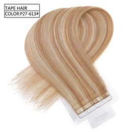 Wholesale Tape Hair Extensions 27 - Grade 7A Brazilian remy human hair Straight wave 12-26'' tape in hair Extensions Pu Skin weft Piano color 27 613 2.5g s&40s lot, Free DHL