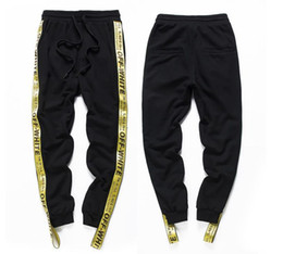 Wholesale Hip Hop Pants Clothes - Oversize Sweatpants Ribbon Elastic Drawstring Pants Brand Clothing Off White Letter Print Black Hip Hop Men Kanye Justin Bieber