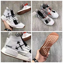 Wholesale Zip Socks - 2017 New Released OFF White x NMD City Sock Mid Running Shoes UrbanVirgil Abloh Real Boost Sneakers OW Black White Zip BA7208 Nomad