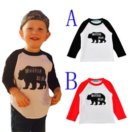 Wholesale Kids Brand Tshirt - toddler boy tshirt cartoon bear long sleeve baby boys girls t shirts 2017 autumn cute letter brother bear kids t-shirts children clothes