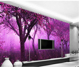 Wholesale Tv Backdrop Wall - Classic Home Decor Purple Dream Forest Large Simple mural 3d wallpaper 3d wall papers for tv backdrop