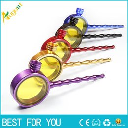 Wholesale Allied Metal - Sharpstone colorful magnifying glass type corrugated pipe filter cigarette holder aluminium ally smoking pipe 8985
