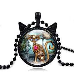 Wholesale Watch Mix Order - High quality New retro mechanical cat watch time gem necklace black cat pendant WFN371 (with chain) mix order 20 pieces a lot