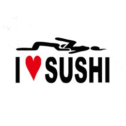 Wholesale car love stickers - Wholesale 20pcs lot Vinyl Decals Car Stickers Glass Stickers Scratches Stickers Wall Die Cut Bumper Accessories Jdm Text I Love Sushi