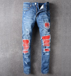 Wholesale Wash Design Denim Pant - 2017 fashion AMIRI jeans men top quality famous brand design ripped man jean biker pants