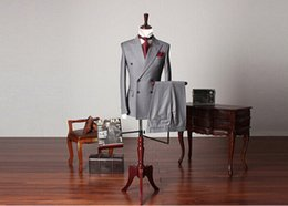 Wholesale Mens Suit Pcs - Wholesale- 2016 New Arrival Gray Custom Made formal Mens Suits terno masculino 2 pcs (Coat+Pants) Double Breasted Wedding Suits