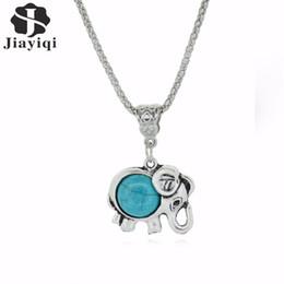 Wholesale Turquoise Silver Elephant Pendant - Gentle Lady's Vintage necklace Trendy Elephant Necklace Silver Metal Turquoise Jewelry For Friends Gift Long pendant