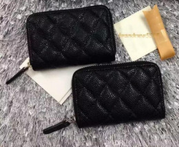 Wholesale Rivet Hip Hop - 69271 Free shipping Classic hasp famous brand lambskin zipper Card ID Holder women wallet genuine caviar leather wallet black color