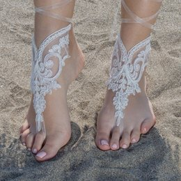 Wholesale Cheap Custom Sandals - Elegant Lace Beach Wedding Barefoot Sandals 2017 Hot Sale Anklet Chain Cheap Custom Made Bridal Bridesmaid Jewelry Foot