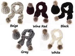 Wholesale White Crochet Scarf - New Winter Warm Women Fashion knitted Scarf and Hat Set Crochet Cap Beanie Ski Hat christmas gifts