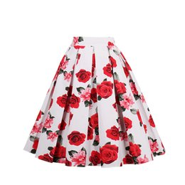 Wholesale Girls Dresses Rose - Red Rose Ivory Vintage Skirt Floral Printed Tutu Women Teen Juniors Girls Cotton A Line Pron Party Club Swing Autumn Flower Casual Dress