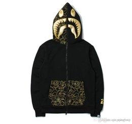 Wholesale Ovo Jacket - Wholesale Mens Sportwear Coat Jogger Tracksuit Zipper Fleece Sweatshirt Crewneck Bird OVO Drake Black Hip Hop Hoodie Men Shark Mouth Jacket
