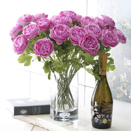 Wholesale Home Decor Silk Flower Arrangements - Vintage Artificial Peony Silk Flowers Bouquet Room Wedding Floral Decor DIY Arrangement Flowersfor Home Office Wedding Parties