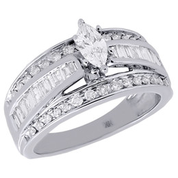 Wholesale Solitaire Marquise Diamond - 14K White Gold Marquise Cut Solitaire Diamond Wedding Engagement Ring 1 Ct.