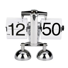 Wholesale Table Clock Scale - Wholesale-Boutique Retro Modern Alarm Scale Digital Auto Flip Dual Stand Desk Table Balance Clock Flip Clock
