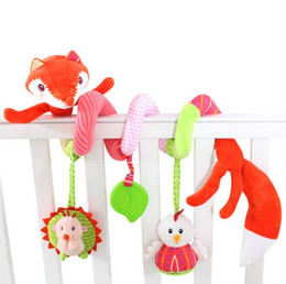 Wholesale fox bedding - Wholesale- new cute cartoon animal fox infant Baby crib revolves bed around stroller playing toy hanging baby Rattles Teeth Glue Toys