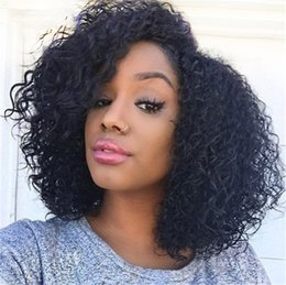 Wholesale Malaysian Virgin Full Lace Wigs - Full Lace Wig with Silk Top 4*4 Virgin Malaysian Kinky Curly Silk Top Lace Front Human Hair Wig for Black Women FDSHINE HAIR